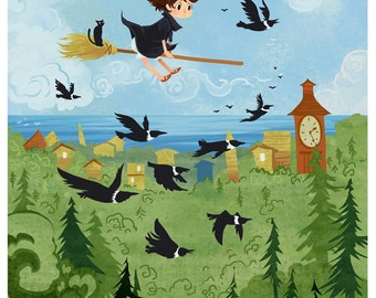 Kiki Over the Forest poster print