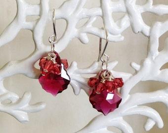 Dark Pink Swarovski Cluster Earrings