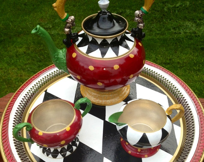 Painted Tea Set// Painted Silver Tea Set// Whimsical Painted Tea Set