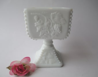 Vintage Westmoreland Milk Glass Beaded Grape Pedestal Bowl