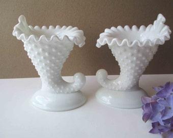 Vintage Fenton Milk Glass Hobnail Cornucopia Candleholder Pair