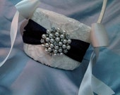 Ivory Navy Flower Girl Basket Flower Girl Basket Pearl Rhinestone Accent Wedding Basket Unique