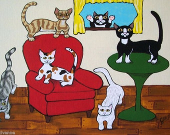 """Whimsical Kitty Print """"Did Someone Say Treats?"""" Fun Cats Folk Art Poster Two Sizes Available Artist Julie Ellison"""