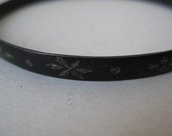 Siam Bracelet Bangle Silver Vintage Black