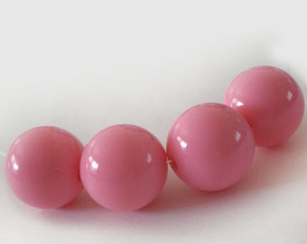 16mm Pink acrylic beads - 6pcs