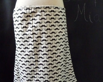 A-line SKIRT - Amy Adams - Geekly Chic Mustache - Made in ANY Size - Boutique Mia