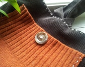 Gray and pumpkin wristlet, vintage buttons and hand-stitched detail