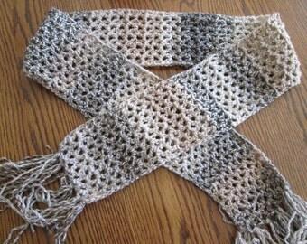 Unisex multicolored crochet scarf
