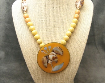 Large Enamel Pendant Necklace Vintage Jewelry N5440