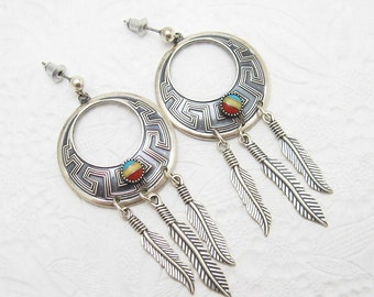 Vintage Sterling Earrings Long Southwestern Jewelry E5730