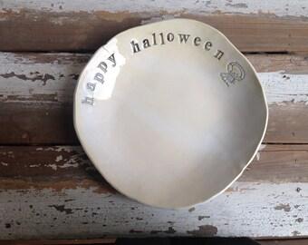Spooky alien happy Halloween candy bowl