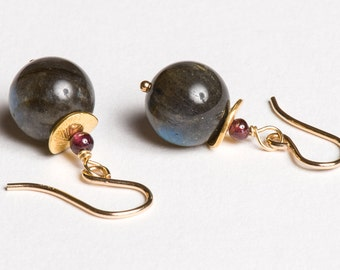 Gemstone Earrings // Labradorite // Garnet // Gold // Dark Gray and Burgundy // gift for her // Meteor Shower