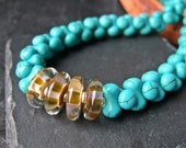 Sand and Sea - Boro Glass Disc and Turquoise Howlite Necklace.