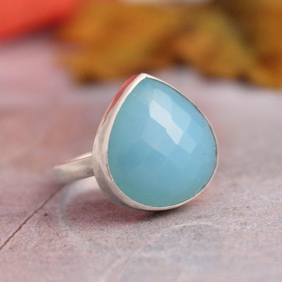 Blue chalcedony ring Gemstone ring Bezel ring by Studio1980