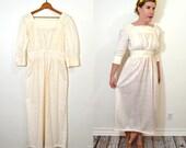 Bohemian Weddings Dress - Eyelet Ruffle White Maxi Dress - 1970s Handmade Dress