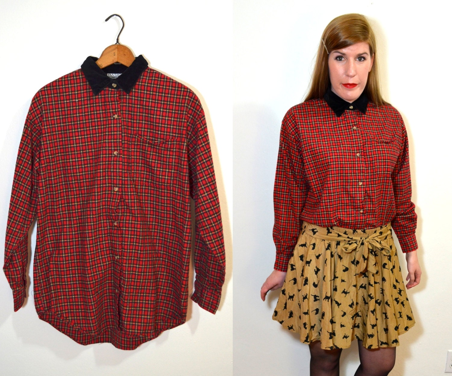 Womens plaid shirt red plaid shirt collared blouse black Womens red tartan plaid shirt