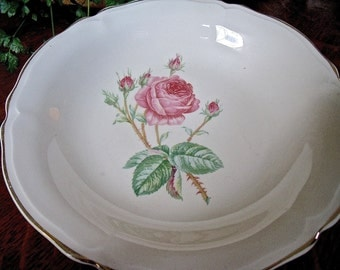 "BOWL-VinTage 8"" x 1 1/4"" bowl-Pink Roses in the center-gold trim-GORGEOUS Bowl"