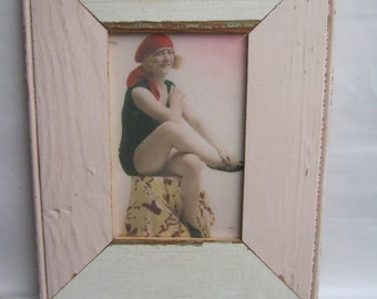 Reclaimed Wood 4x6 Picture Frame Single Photo Two Tone S1751-13