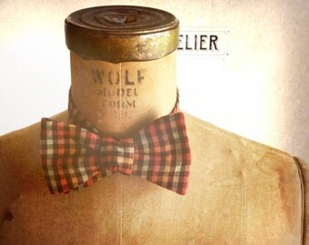 Mens / Boys Bow Tie - Geek Chic Number 112 Limited Edition - WOODSMAN - Remnant Brown, Red, Mustard, Sage Plaid Cotton