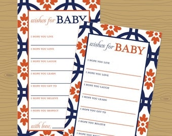 Digital Download Orange and Blue Baby Wishes Shower Game - Auburn Baby Shower Printable