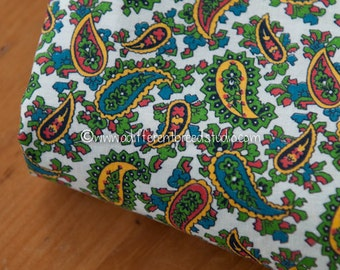 Adorable Little Paisley - New Old Stock Vintage Fabric Mod Nice Bright Colors 35 in wide