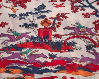 Mod Colorful Hunt Print - Vintage Fabric Novelty 70s  Equestrian Horses Birds