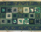 Patchwork Quilt - navy and green winter table runner