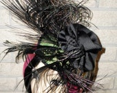 Sale was 48.00 Now 24.00 Ready To Ship Peacock Feather Cocktail Hat By Taissa Lada Designs,Burlesque,Old Hollywood,Pin Up,Vaudeville,Gothic