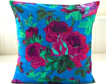 magenta pink blue green purple mint roses cushion cover , 18 inch decorative pillow cover