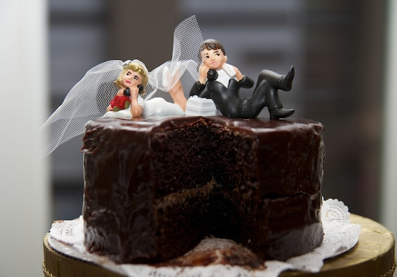 Long Distance Bride And Groom Cake Topper By Lovenesting