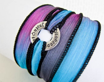 Silk Wrap Bracelet with Hand Stamped Washer - Personalized with Custom Name on Chunky Stainless Steel Circle - Yoga Jewelry