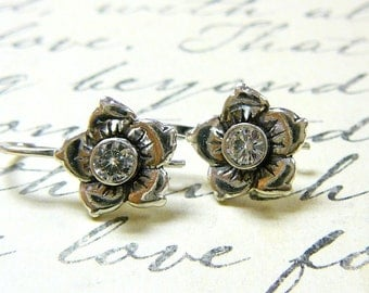 Clara Earrings - Sterling Silver Vintage Delicate Flower CZ Earrings