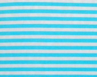 1/2 yard Knit Ice Blue Stripes 3/8 inch  95 Cotton 5 Lycra 4 way stretch Medium weight