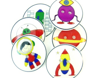 "6 SMALL Space Alien andAstronaut Buttons. 1/2"" or 15 mm Handmade Buttons. Rockets, planet, astronaut, alien sewing buttons for Boys."