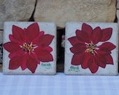 Hand Painted Ceramic Tile Coasters with Red Poinsettia