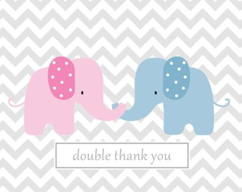 Chevron note custom  card twins chevron notes  baby note cards custom personalized notes Grey chevron pink elephant