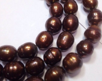 """Rice Pearl Baroque Pearl Freshwater Pearl dark brown 9X11mm--16"""" full strand 36 pc #DR3022"""