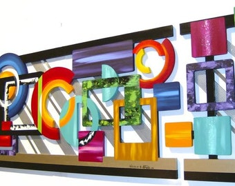 Beautiful in the Mind's Eye Wall Sculpture-Contemporary Modern Abstract Geometric Wood n Metal Wall Decor-Custom, unique, Large 6'x2' by DAS