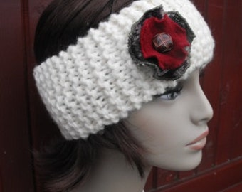 Womens White Ski Headband with Recycled Wool Sweater Flower