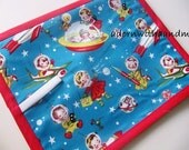 Chalkimamy Michael Miller Retro spaceships TRAVEL chalkboard mat placemat (a)