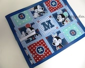 Chalkimamy TRAVEL chalkboard mat made with licensed blue patchwork Mickey Mouse fabric