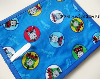 Chalkimamy chalkboard mat, placemat, travel toy made with Thomas the train fabric