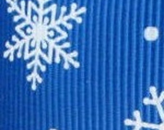 Bright Blue with Snowflakes 7/8 Inch Grosgrain Ribbon 10 Yards
