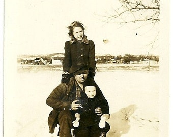 Vintage Family Photo Little Boy In Snowsuit With Mom And Dad In Winter Snow Snapshot Photograph