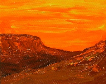 Southwest Sunset, original acrylic painting on canvas, orange sunset