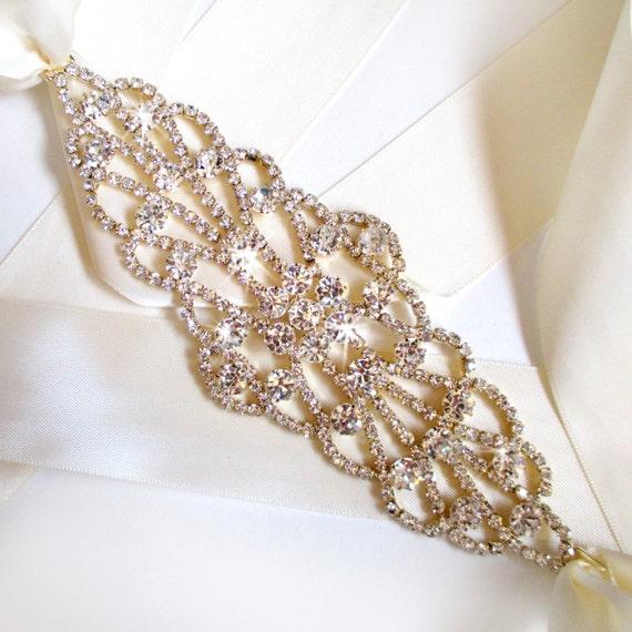 wide gold wedding dress sash rhinestone encrusted