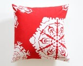 Red Christmas Pillow, Snowflake Decorative Pillow, SALE 50% off, Gift for Mother, Stocking Stuffer, Gift for Grandmother, Gift for women