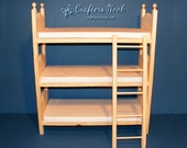 American Girl Doll Triple Bunk Bed with Foam Mattresses and Ladder 18 Inch Doll Furniture Gift for Daughter Gift for Girl Christmas Gift