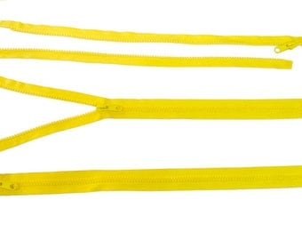 23 inches - LARGE ZIPPER in YELLOW - fully separating long jacket style, big molded no.10 teeth