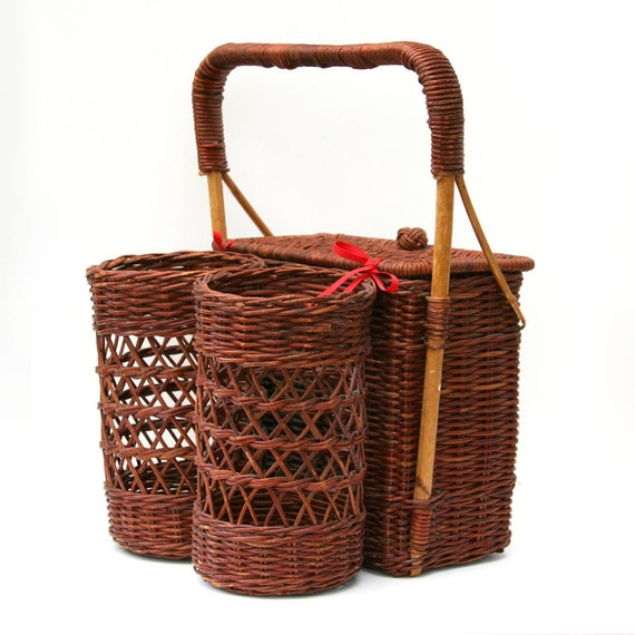 Small, Wicker Picnic Basket,with Two Wine Bottle Holders, Red and White Cotton Gingham Lining